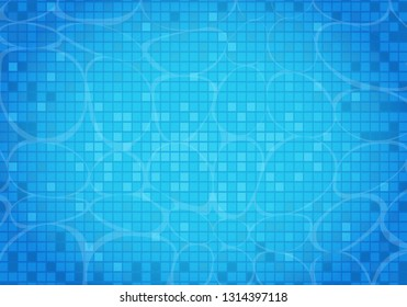 Swimming pool background. Modern blue swimming pool for backdrop, banner, wallpaper, surface pattern, cover and banner. Creative art concept, vector illustration background