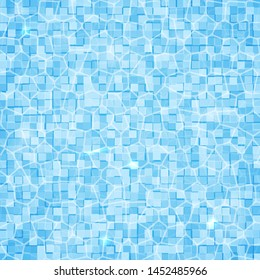 Swimming pool background. Top view of water surface with waves and sun glare on it. Blue tiled bottom. Summer vacation vector illustration. Easy to edit template for your design projects.