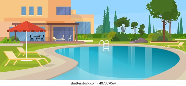 Swimming Pool Big Modern Villa Hotel House Exterior Flat Design Vector Illustration