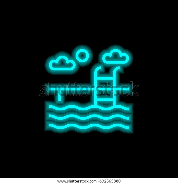 Swimming pool blue glowing neon ui ux icon. Glowing sign logo vector