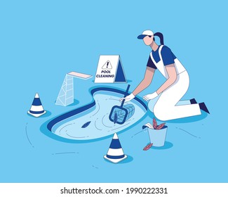 Swimming pool cleaning with cleaning equipment flat illustration vector, Pool maintenance concept, swimming pool service worker with net cleaning water