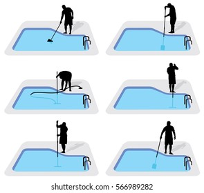 Swimming Pool cleaning service silhouette collection
