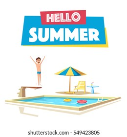 Swimming pool with a diving board. Cartoon Vector illustration. Sport and recreation. Preparing to jump and dive. Vintage style. Hello summer