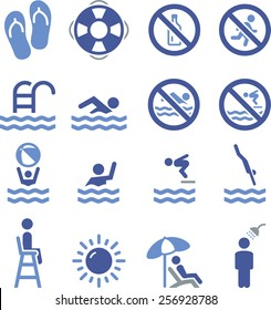 Swimming, pool and diving icon set.