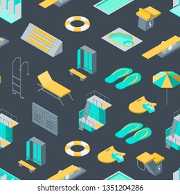 Swimming Pool Elements 3d Seamless Pattern Background Isometric View Include of Umbrella, Ring Lifebuoy, Shower and Closet . Vector illustration