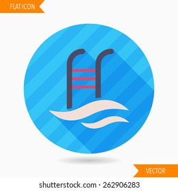 swimming pool flat icon with long shadow on blue circle background , vector illustration , eps10