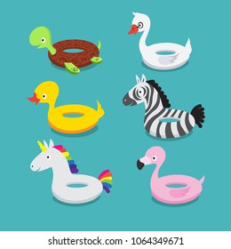 Swimming pool floats, inflatable animals flamingo, duck, unicorn, zebra, turtle, swan rubber toys vector set