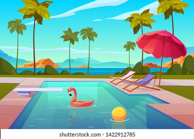 Swimming pool in hotel or resort outdoors, empty poolside with chaise lounges, umbrella, inflatable flamingo and ball in water, exotic beach landscape seaview background. Cartoon vector illustration