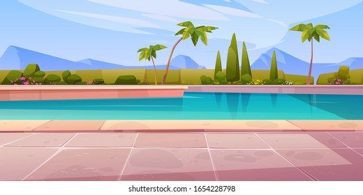 Swimming pool in hotel or resort outdoors, empty poolside with blue water, palm trees, green plant fencing and tiled floor on mountain landscape background. Exotic island cartoon vector illustration