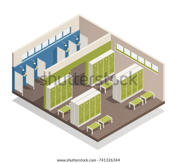 Swimming Pool House Changing Locker Room Stock Vector ...
