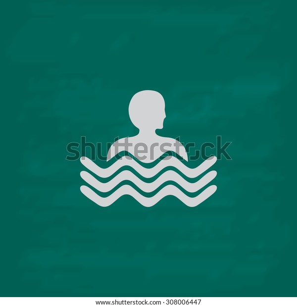 Swimming pool. Icon. Imitation draw with white chalk on green chalkboard. Flat Pictogram and School board background. Vector illustration symbol