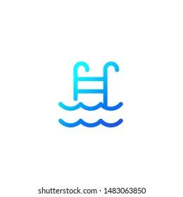 swimming pool icon, line vector