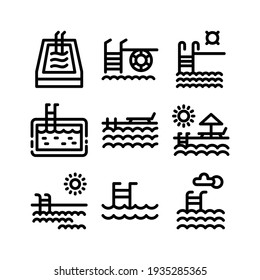 swimming pool icon or logo isolated sign symbol vector illustration - Collection of high quality black style vector icons