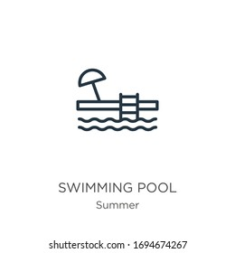 Swimming pool icon. Thin linear swimming pool outline icon isolated on white background from summer collection. Line vector sign, symbol for web and mobile
