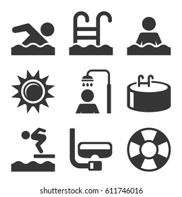 Swimming Pool Icons Set on White Background. Vector illustration