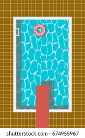 Swimming pool with inflatable swim ring in donut form and springboard for jump. Vector illustration.