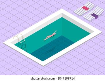 Swimming pool. Isometric concept design. Vector illustration