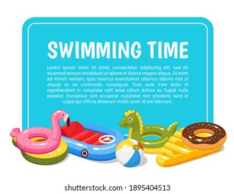 Swimming pool kids cartoon banner. Summer holidays, vacations on coast horizontal poster. Float ring, inflatable toys, flamingos, car, dragon, cheese, doughnut, ball flyer. Vector illustration.