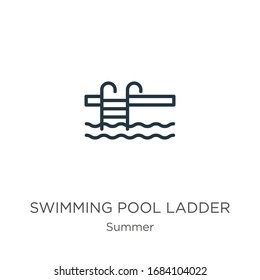 Swimming pool ladder icon. Thin linear swimming pool ladder outline icon isolated on white background from summer collection. Line vector sign, symbol for web and mobile