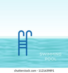 Swimming pool with  ladder. Vector illustration
