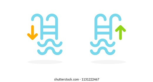 Swimming pool ladders icons. Vector illustration, flat design