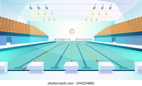 Swimming pool landing page in flat cartoon style. Modern indoor stadium pool with lanes and tribune. Sports arena with spotlights. Recreation or competition. Vector illustration of web background - Shutterstock ID 1943294881