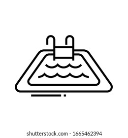 Swimming pool line icon, concept sign, outline vector illustration, linear symbol.