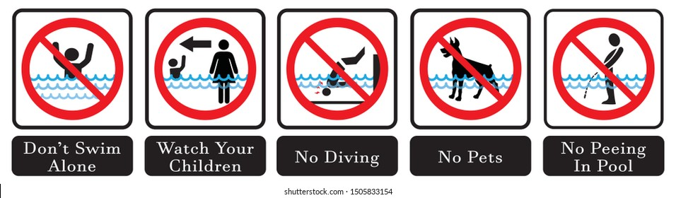 Swimming pool rules. No Diving sign,No pets sign,No peeing in pool  icon,Don't swim alone icon.