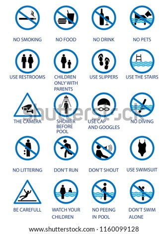 Swimming pool rules public private pools stock vector royalty free 1160099128 shutterstock for Swimming pool health and safety rules
