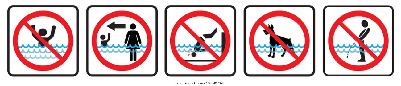 Swimming pool rules. Set of icons and symbol for pool. No Diving sign,No pets sign,No peeing in pool  icon,Don't swim alone icon.