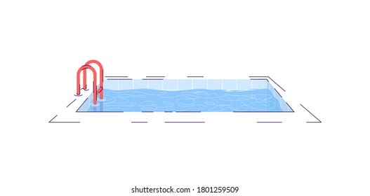 Swimming pool semi flat RGB color vector illustration. Water pool with ladder isolated cartoon object on white background. Summertime recreation. Luxury home, tourist resort attribute