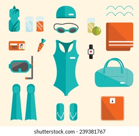 Swimming pool set. Water sport  set. Vector swimming pool elements. Vector fitness women set.