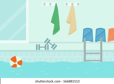A swimming pool, side view. Vector illustration. Flat design.