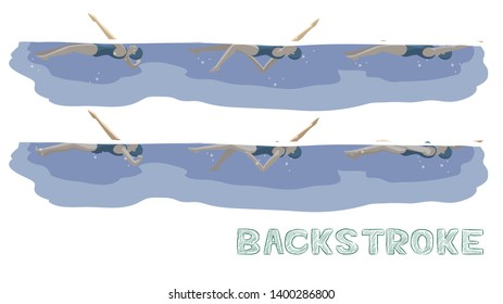 Swimming Pool Style Backstroke Motion Sequence Woman Animation Set