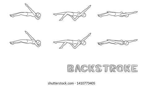 Swimming Pool Style Backstroke Motion Sequence Woman Animation Set Black and White