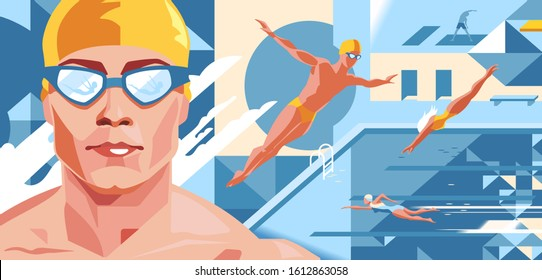 Swimming pool. Swimmer in a yellow cap and glasses. Front Crawl, dive. Flat. Vector illustration. Professional sport.