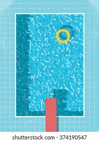 Swimming pool top view with inflatable ring preserver and red jump. 80s style vintage graphic design with grunge background. Eps10 vector illustration.