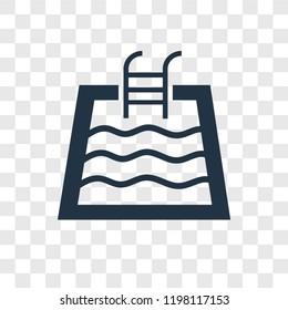 Swimming pool vector icon isolated on transparent background, Swimming pool transparency logo concept