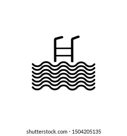 Swimming pool vector icon. The symbol of the place icon for swimming is isolated white background on eps 10
