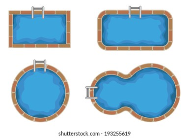 Swimming pools. Top view