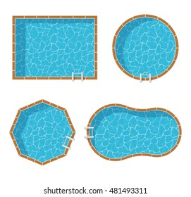 Swimming pools top view set isolated on white background.
