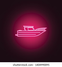 swimming private yacht neon icon. Elements of Transport set. Simple icon for websites, web design, mobile app, info graphics