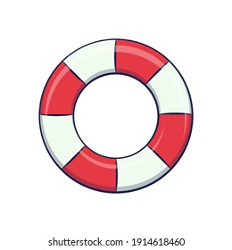 Swimming ring. Cartoon inflatable rubber rings isolated on white background. Summer and beach. Flat icon. Vector illustration