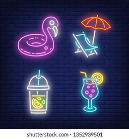 Swimming ring, chaise longue and drinks neon signs set. Vacation, summer and tourism design. Night bright neon sign, colorful billboard, light banner. Vector illustration in neon style.