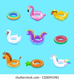 Swimming rings. Inflatable float buoy kid toys float ring lifebuoy rescue belt duck beach pool swim summer vacation cartoon vector set