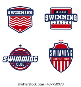 Swimming sport logos for competitions, tournaments, clubs, leagues. Vector illustration.