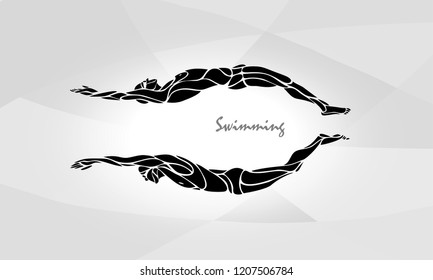 Swimming Sport Silhouette. Swimmers Vector Illustration Eps10