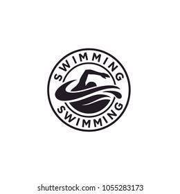 Swimming Sport Stamp Sticker Emblem Label logo design inspiration