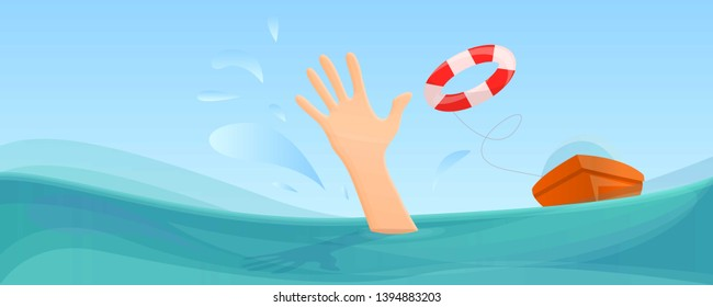 Swimming take help life buoy concept banner. Cartoon illustration of swimming take help life buoy vector concept banner for web design