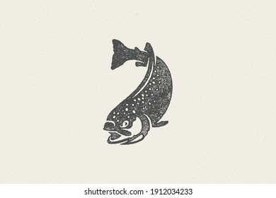 Swimming trout fish silhouette for fishing club or seafood market hand drawn stamp effect vector illustration. Vintage grunge texture emblem for package and menu design or label decoration.